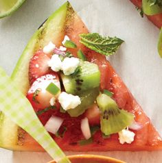 Yes, we grilled watermelon. And yes, it's awesome. Grilled Watermelon with Minted Salsa Bites will be a hit at your next grill-out. Trust us. grill watermelon