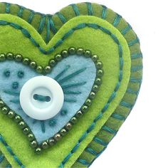 Felt Brooch Pin Blue and Green Heart by Fukuiicrafts on Etsy, $20.00