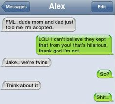 laugh, funni, hilari, humor, text messag, twins, autocorrect fail, thing, awkward moment