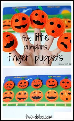 "Make cute felt finger puppets to use with the poem ""Five Little Pumpkins"" this Halloween!"