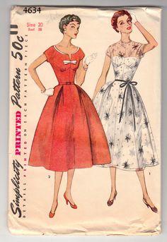 Simplicity 4634 Vintage Sewing Pattern 1950's Misses Dress