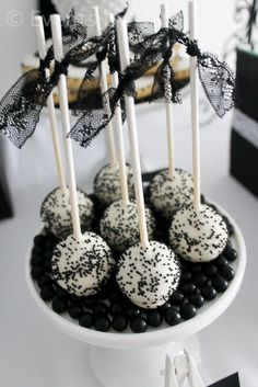 Cake pops from a 1920's Glam Party in  black and white