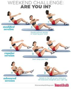 WH WEEKEND CHALLENGE: Russian Twists! This move targets all of your abdominal muscles, with an emphasis on your obliques. Pick which version you feel most comfortable with and do 3 sets of 8 reps before every meal this weekend. ARE YOU IN?.