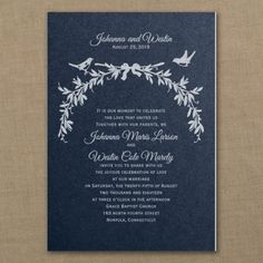 Blue and White Wedding Ideas - Enchanted Love - Classic Invitation - Navy Shimmer | Occasions In Print, LLC (Invitation Link - http://occasionsinprint.carlsoncraft.com/Wedding/Wedding-Invitations/3214-MM1327031028-Enchanted-Love--Classic-Invitation--Navy-Shimmer.pro)