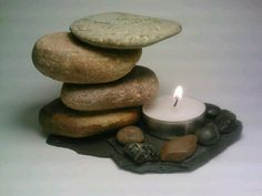 Tea Light Candle Holder, Stone Candle Holder, Nature Art, Rock Candle Holder