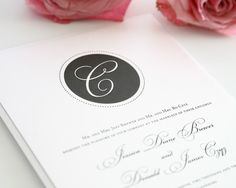 Gray Wedding Invitation with monogram.  So classy!