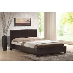 Camborne 4ft 6in Double Bed with Mattress in Brown Faux Leather - Furniture Range