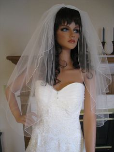 Diamond White Wedding Veil Two Tiers  Waist by joyousillusions, $42.00