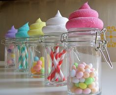 Yummy candy jars!  Cute for favor packaging!  #candy #jars #favors