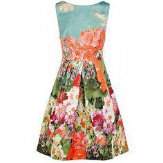 floralprint dress, round necklin, fashion, backless dresses, collar floral, round collar, necklin sleev, floral dresses, sleev backless