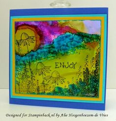 Alcohol Inks on Yupo with Stampinback.nl stamps from Kit 148 - The Idiot Flowers, card made by Alie Hoogenboezem-de Vries