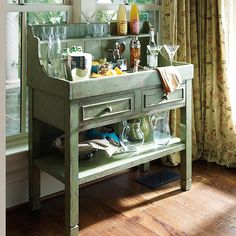 Accents Green Dry Sink dining rooms, decor, coffee, hgtv, green dri, homes, antiques, dri sink, covered porches
