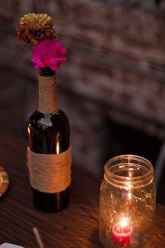 wine bottle + mason jar + twine
