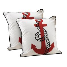 Anchor Pillow in Red (Set of 2)