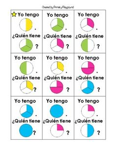 I Have... Who Has...? game with fractions in Spanish