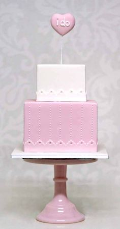 Pink and white square 2 tier wedding cake with I Do topper