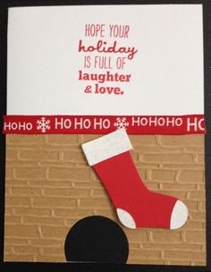 Christmas card using spellbinders brick embossing folder and sizzix stocking punch