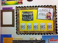 """Jungle Jobs"" chart for safari-themed classroom"
