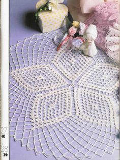 """Round White Lace Crocheted Doily """"Five - Point Star""""  $23"""