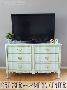 So, modern media centers are great but the really good ones are a bit expensive. The solution? Purchase an old dresser from a thrift store or yard sale, unless you already have one on hand that you aren't using. - Top 60 Furniture Makeover DIY Projects and Negotiation Secrets