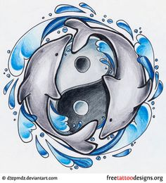 Dolphins tattoo with yin yang