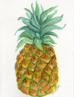 Pineapple Watercolor Painting  original ART 5 x by SharonFosterArt, $12.00