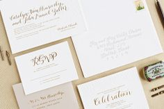 Carley + John's Gold Foil and Calligraphy Wedding Invitations | Design: Lauren Chism Fine Papers | Calligraphy : Courtnie Johnson of Poppy Pedals | Letterpress Printing : Czar Press | Photo Credits: Perez Photography