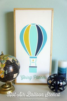 Silhouette Challenge: Hot Air Balloon Stencil Tutorial on www.strawberrymommycakes.com #SilhouetteChallenge #silhouettecameo #silhouette
