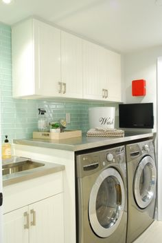 Laundry room | glass tile | stainless steel #laundry