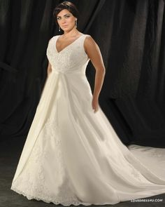 Applique Beading V Neck Chapel Plus Size Bridal Gown Wedding Dress -  For more amazing deals visit us at http://www.brides-book.com/#!brides-book-outlets/ck9l and remember to join the VIB Ciub