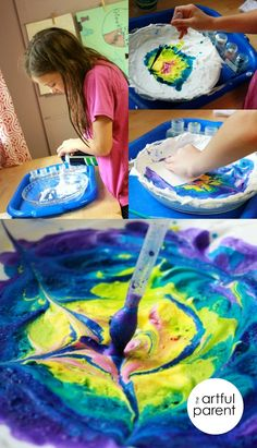 Have you tried shaving cream marbling yet? This kids art project is so beautiful and works with just about any kind of paint! kid art projects, craft art, paint crafts, kid fun, painting kid projects, art kids projects, kids art project, kids art craft ideas, kid paint