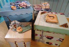 Cajas decoradas con laminas Herminia Devoto por Lucila Medina Gomez y flores Tere