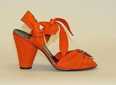 Seymour Troy Originals, 1940. #vintage #shoes #1940s #orange
