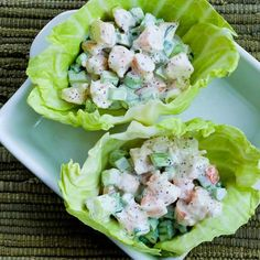 I took my family's favorite Shrimp and Macaroni Salad and made it into a #LowCarb treat withthese Shrimp Salad Cabbage Cups.   [from Kalyn's Kitchen] #SouthBeachDiet  #HealthyNewYear