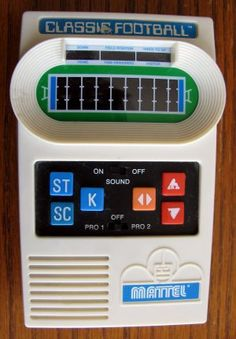 A childhood classic.  Many hours spent playing this on the school bus...  Mattel Classic Football.  $44.95 shipped.