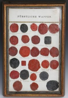"""Lot of 26 German Royal household wax seals, attached to paper backing. With written inscriptions indication their origin. Eg Kaiserlich Deutsches Wappen, Pr. de Favoil. Pr v Furstenberg and more. 26 total. Size: 9"""" x 14"""" framed"""