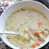 Dill Turkey Chowder with Sweet Potatoes sumptuous soup, turkey chowder, blender recip, din din