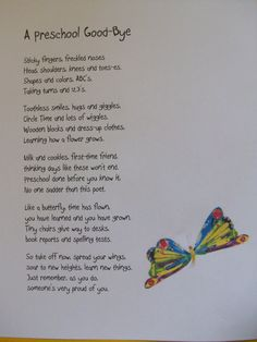 """A Preschool Good-Bye""  Poem I will read at Graduation.. I <3 this!"