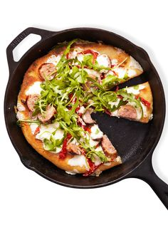 This pizza-in-a-pan recipe only calls for 6 simple ingredients, plus oil, salt and pepper.