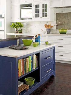 banish bore, cookbook, color, cobalt blue, blue kitchens, blue island, kitchen islands, painting cabinets, white kitchens