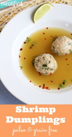 Broth Simmered Shrimp Dumplings from http://meatified.com #paleo #whole30 #glutenfree #aip #autoimmunepaleo