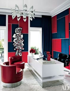 Graphic, navy blue and red office.