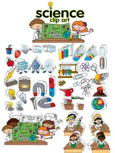 Science clip art set Download a FREE microscope in the preview! classroom clipart
