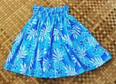 A girl's hula pa'u skirt of aqua and blue plumeria by SewMeHawaii, $25.00