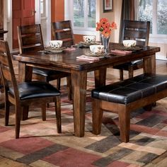 Wildon Home Willow Rectangular Dining Table in Rich Burnished Dark Brown Wood