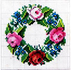 *The Graphics Fairy LLC*: Antique Embroidery Pattern - Cross Stitch Wreath & Frame