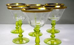 6 VintageTiffin Glass Champagne Glasses with by borahstyle on Etsy, $60.00