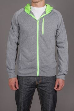 Casual hoodie with neon zip detail