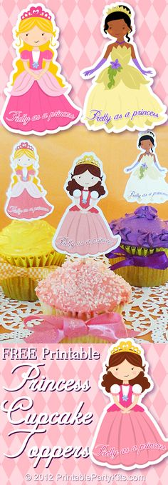 Free printable princess cupcake toppers in three designs