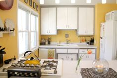 Yellow Kitchen with White and Gray